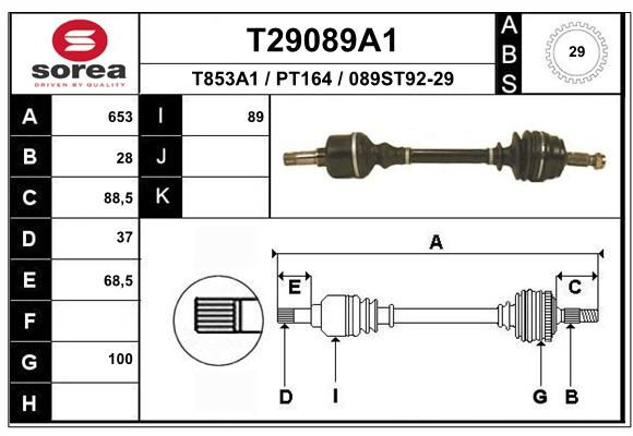 EAI Aandrijfas (T58355)
